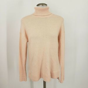 J. Crew Pink Relaxed Wool Blend Turtleneck Sweater